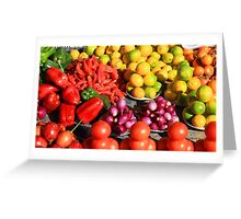 Colorful Fruits and Vegetables Greeting Card