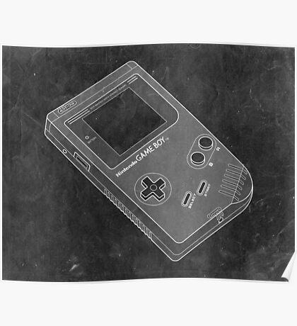 Distressed Nintendo Game Boy - Black & White Poster
