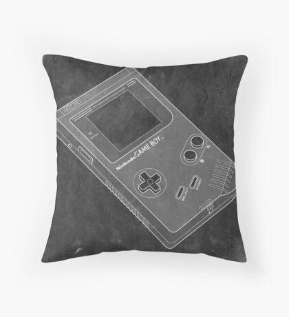 Distressed Nintendo Game Boy - Black & White Throw Pillow