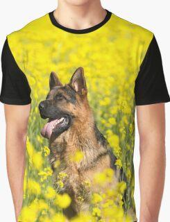 German Shepherd in mustard flower field Graphic T-Shirt
