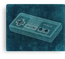 Distressed Nintendo NES Controller - Blue Green Canvas Print
