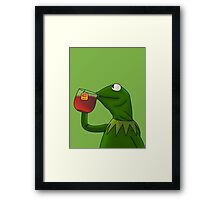 Kermit sipping tea (Redesign) Framed Print