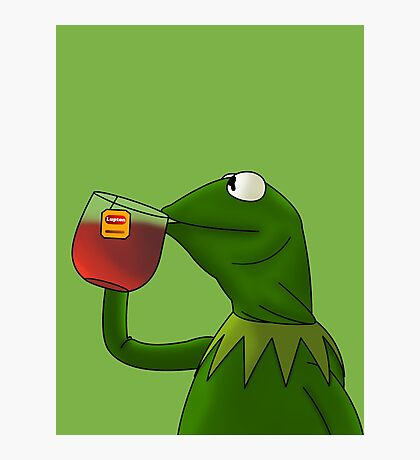 Kermit sipping tea (Redesign) Photographic Print