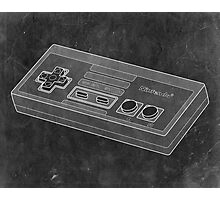 Distressed Nintendo NES Controller - Black & White Photographic Print
