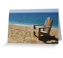 Empty weathered beach chair. Greeting Card