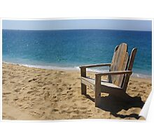 Empty weathered beach chair. Poster