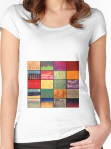 Abstract Landscape Mosaics Women's Fitted Scoop T-Shirt