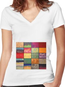 Abstract Landscape Mosaics Women's Fitted V-Neck T-Shirt