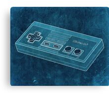 Distressed Nintendo NES Controller - Cyan Canvas Print