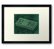 Distressed Nintendo NES Controller - Green Framed Print