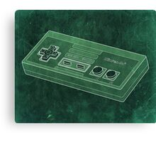 Distressed Nintendo NES Controller - Green Canvas Print