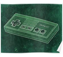 Distressed Nintendo NES Controller - Green Poster