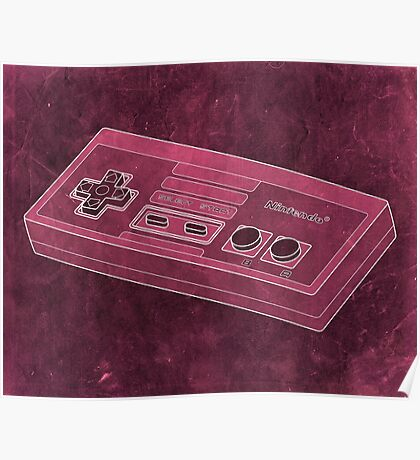 Distressed Nintendo NES Controller - Pink Poster