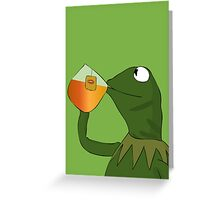 Kermit sipping tea Greeting Card