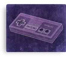 Distressed Nintendo NES Controller - Purple Canvas Print