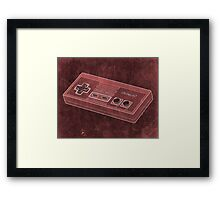 Distressed Nintendo NES Controller - Red Framed Print