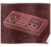 Distressed Nintendo NES Controller - Red Poster