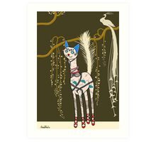 Marguerite, Art Deco Cat Art Print
