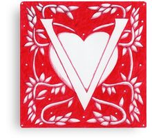 Red Heart Letter V Canvas Print