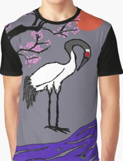 Crane Under Cherry Blossoms Graphic T-Shirt
