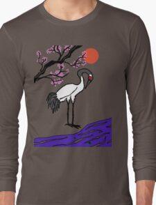 Crane Under Cherry Blossoms Long Sleeve T-Shirt