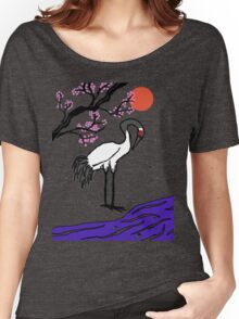 Crane Under Cherry Blossoms Women's Relaxed Fit T-Shirt