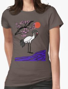 Crane Under Cherry Blossoms Womens Fitted T-Shirt