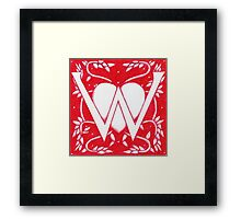 Red Heart Letter W Framed Print