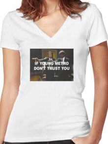 Young Metro - Pulp Fiction Women's Fitted V-Neck T-Shirt
