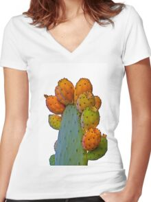 Cactus Apples Women's Fitted V-Neck T-Shirt