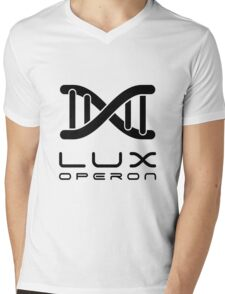 Lux Helix-Black on White Mens V-Neck T-Shirt