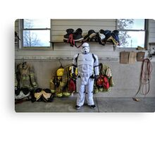 Trooper in firehouse Canvas Print