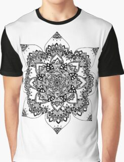 B&W Flower Mandala  Graphic T-Shirt
