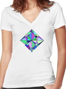 Cool Geometric Colours Women's Fitted V-Neck T-Shirt