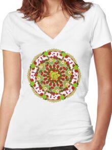 Red Fruit, Green Fruit Women's Fitted V-Neck T-Shirt