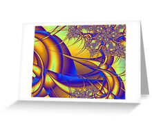 Blue and Gold Fractal Pattern Greeting Card