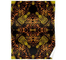 Orange Glow Zebra Abstract  Poster