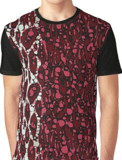 Burgundy White Black Cheetah Abstract  Graphic T-Shirt