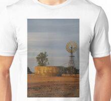 A windmill and tank on a farm near Corowa new south wales Australia. Unisex T-Shirt