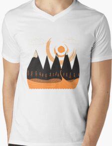 Sunny Mountain Pass Mens V-Neck T-Shirt