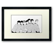 BTS Group Photo - Monochrome Framed Print
