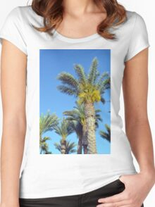 Tall palm trees against the blue sky. Women's Fitted Scoop T-Shirt