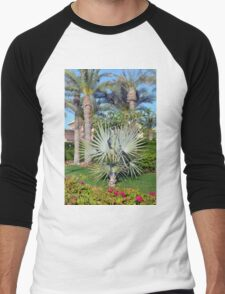 Natural background with palm trees. Men's Baseball ¾ T-Shirt