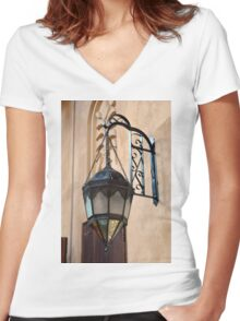 Vintage Gothic outdoor lamppost. Women's Fitted V-Neck T-Shirt