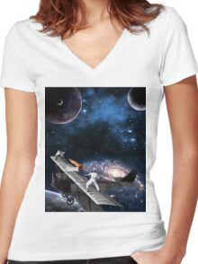 Space Tennis Women's Fitted V-Neck T-Shirt