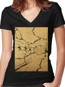 Black & Gold Marble Women's Fitted V-Neck T-Shirt