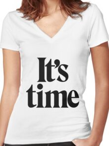 It's Time - Black Women's Fitted V-Neck T-Shirt