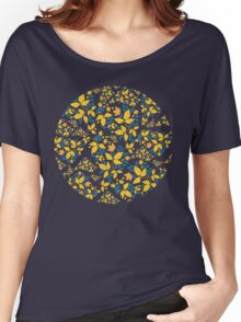 Blue Flowers & Paisley Leaves Women's Relaxed Fit T-Shirt