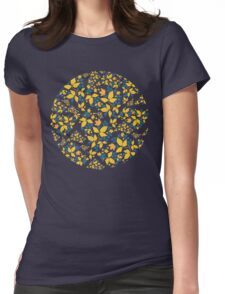Blue Flowers & Paisley Leaves Womens Fitted T-Shirt