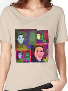 HP LOVECRAFT, AMERICAN GOTHIC WRITER, COLLAGE Women's Relaxed Fit T-Shirt